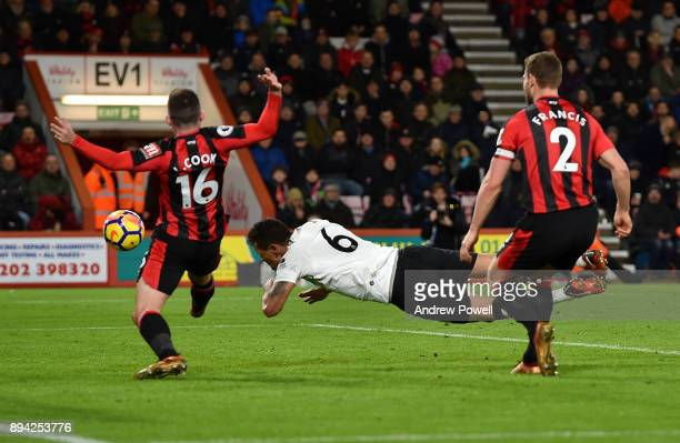 Dejan Lovren of Liverpool scores the second goal during the Premier League match between AFC Bournemouth and Liverpool at Vitality Stadium on...
