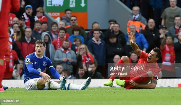 Dejan Lovren of Liverpool scream as Ross Barkley of Everton during the Premier League match between Liverpool and Everton at Anfield on April 1 2017...