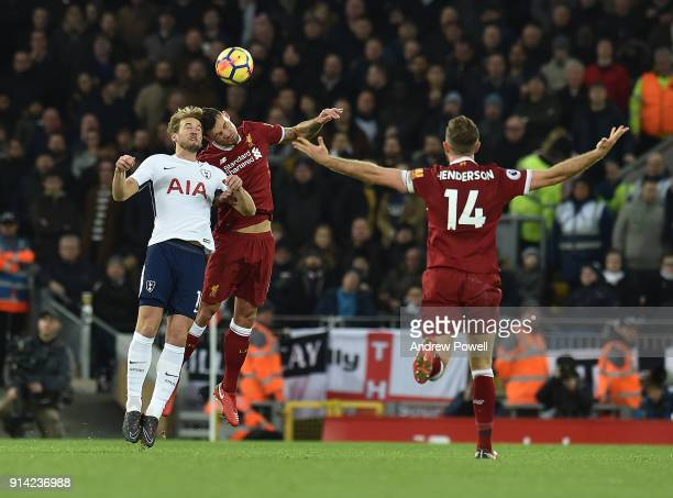 Dejan Lovren of Liverpool with Harry Kane of Tottenham during the Premier League match between Liverpool and Tottenham Hotspur at Anfield on February...