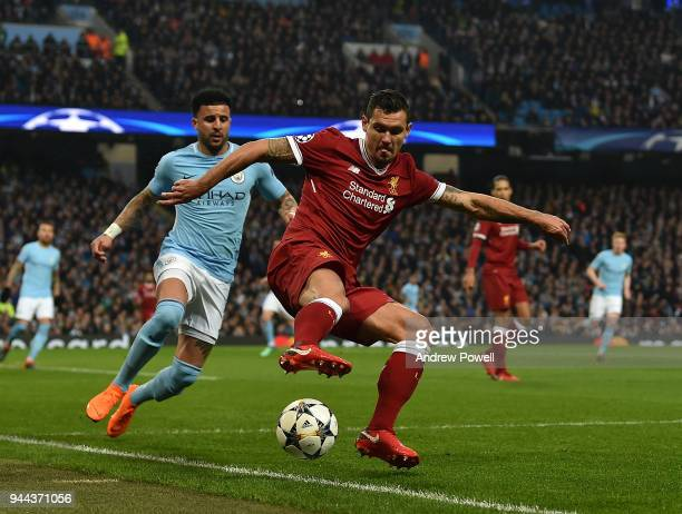 Dejan lovren of Liverpool with KYLE walker of manchester City during the UEFA Champions League Quarter Final Second Leg match between Manchester City...