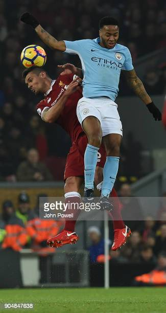 Dejan Lovren of Liverpool with Raheem Sterling of Man City during the Premier League match between Liverpool and Manchester City at Anfield on...
