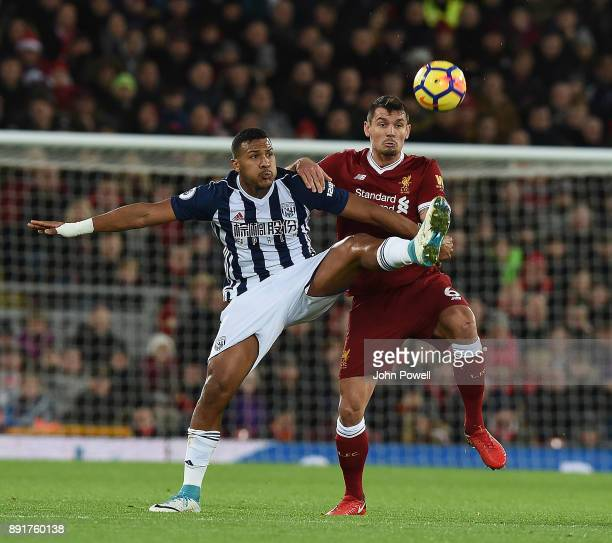 Dejan Lovren of Liverpool with Salomon Rondon during the Premier League match between Liverpool and West Bromwich Albion at Anfield on December 13...