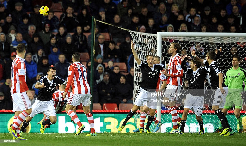 Dejan Lovren (L) of Southampton appeals for handball during the Barclays Premier League match between Stoke City and Southampton on November 02, 2013 in Stoke on Trent, England.