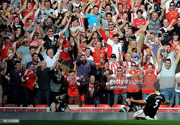 Dejan Lovren of Southampton clelebrates his goal during the Barclays Premier League match between Liverpool and Southampton at Anfield on September...