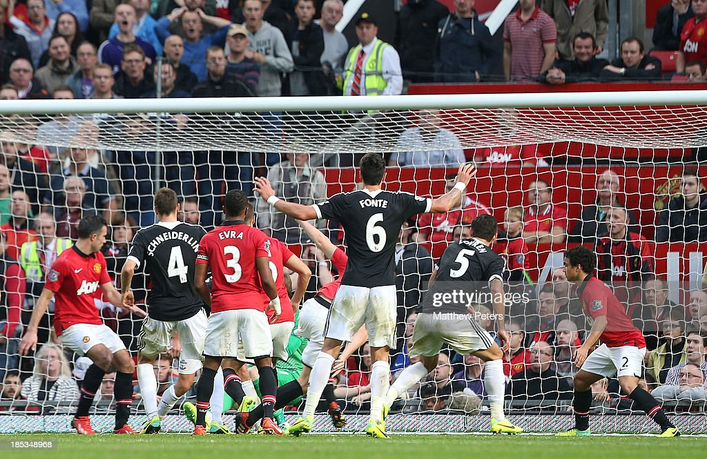 Dejan Lovren (number 5) of Southampton scores their first goal during the Barclays Premier League match between Manchester United and Southampton at Old Trafford on October 19, 2013 in Manchester, England.