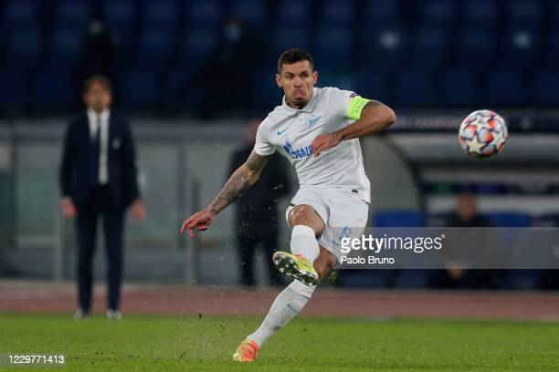 Dejan Lovren of Zenit St. Petersburg kicks the ball during the UEFA Champions League group F stage match between SS Lazio and Zenit St. Petersburg at...