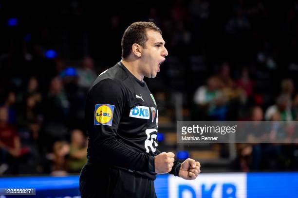 Dejan Milosavljev of Fuechse Berlin during the EHF Handball European League match between Fuechse Berlin and KS Azoty-Pulawy at Max-Schmeling Halle...