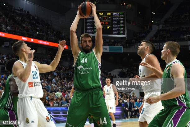 Dejan Musli #44 of Unicaja in action during the Euroleague basketball match between Real Madrid and Unicaja Malaga played at WiZink center in Madrid...