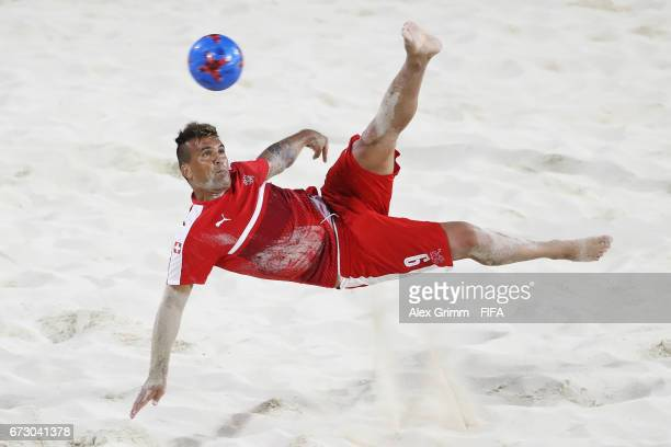 Dejan Stankovic attempts a bicycle kick during a Switzerland training session before the FIFA Beach Soccer World Cup Bahamas 2017 at National Beach...