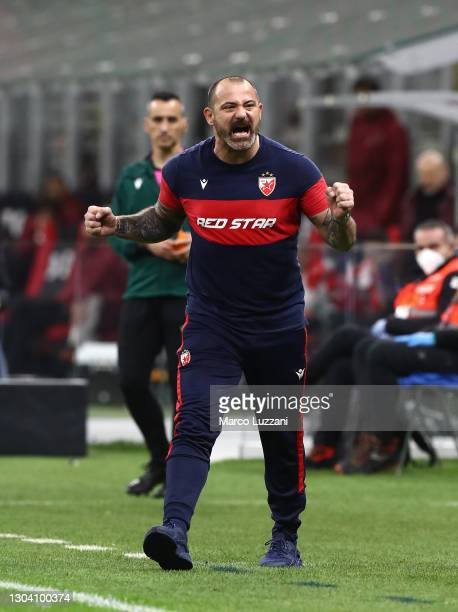 Dejan Stankovic, Head Coach of Crvena Zvezda reacts during the UEFA Europa League Round of 32 match between AC Milan and Crvena Zvezda at San Siro...