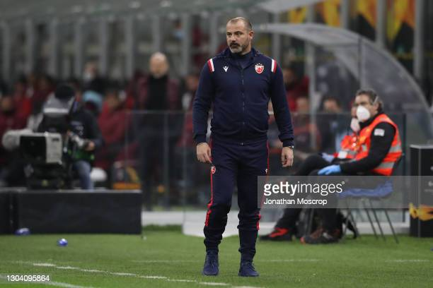 Dejan Stankovic Head coach of FK Crvena zvezda looks on during the UEFA Europa League Round of 32 match between AC Milan and Crvena Zvezda at on...