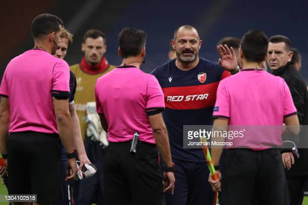 Dejan Stankovic Head coach of FK Crvena zvezda protests towards the officials following the final whistle of the UEFA Europa League Round of 32 match...