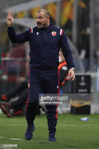 Dejan Stankovic Head coach of FK Crvena zvezda reacts during the UEFA Europa League Round of 32 match between AC Milan and Crvena Zvezda at on...
