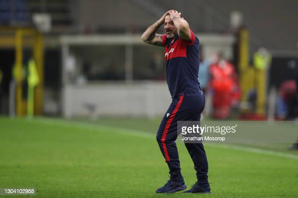 Dejan Stankovic Head coach of FK Crvena zvezda reacts following the final whistle of the UEFA Europa League Round of 32 match between AC Milan and...