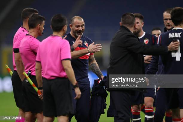 Dejan Stankovic Head coach of FK Crvena zvezda reacts towards the officials following the final whistle of the UEFA Europa League Round of 32 match...