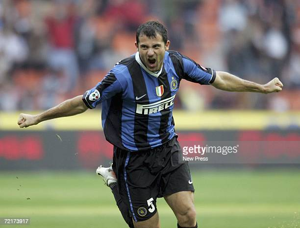 Dejan Stankovic of Inter celebrates scoring during the Serie A match between Inter Milan and Catania Calcio at San Siro Stadium on October 15, 2006...