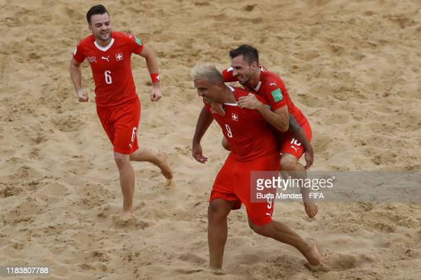 Dejan Stankovic of Switzerland celebrates a goal during the FIFA Beach Soccer World Cup Paraguay 2019 group A match between Switzerland and USA at...