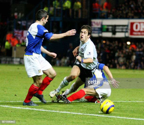 Dejan Stefanovic of Portsmouth brings down Joe Cole of Chelsea on the edge of the box resulting in a penalty to Chelsea during the Barclays...