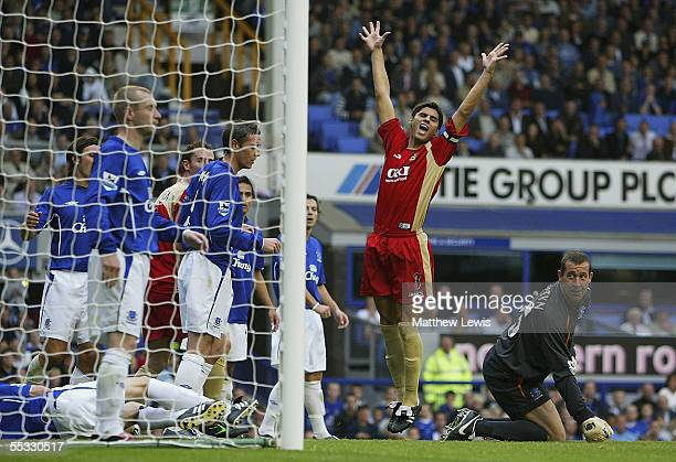 Dejan Stefanovic of Portsmouth celebrates his goal during the Barclays Premiership match between Everton and Portsmouth at Goodison Park on September...
