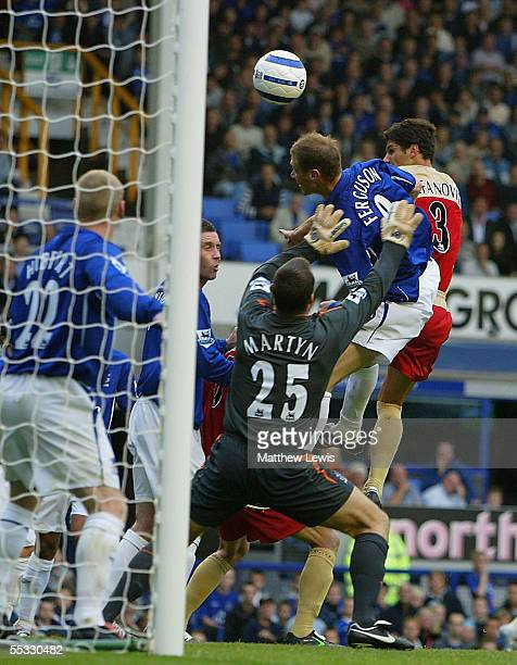 Dejan Stefanovic of Portsmouth heads home a goal during the Barclays Premiership match between Everton and Portsmouth at Goodison Park on September...