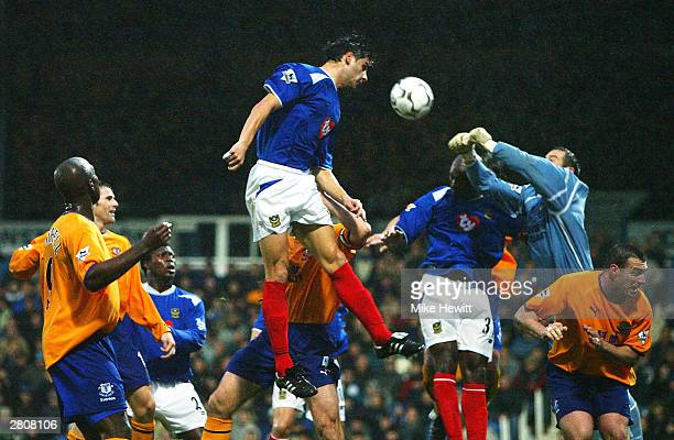 Dejan Stefanovic of Portsmouth heads the ball during the FA Barclaycard Premiership match between Portsmouth and Everton at Fratton Park on December...