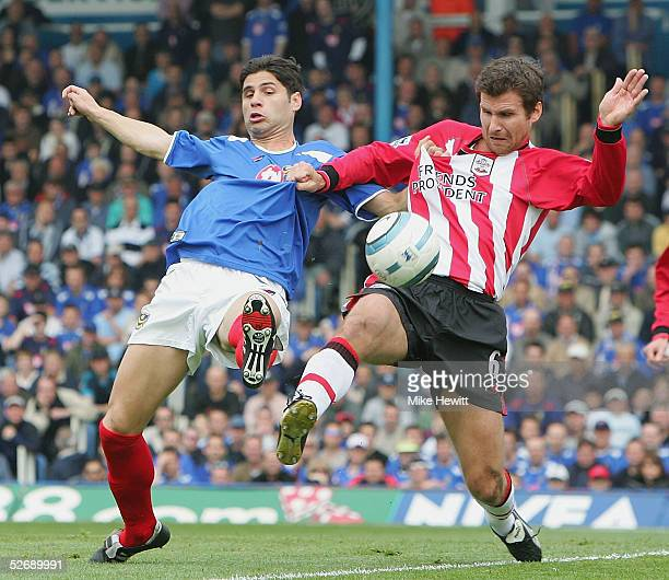 Dejan Stefanovic of Portsmouth is challenged by Andreas Jakobsson of Southampton during the Barclays Premiership match between Portsmouth and...