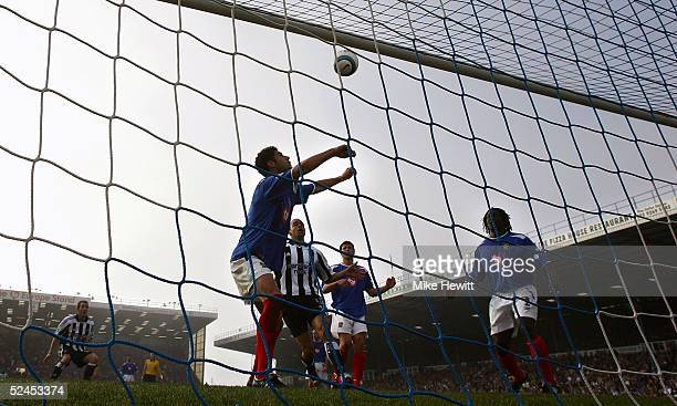 Dejan Stefanovic of Portsmouth prepares to head off the line during the Barclays Premiership match between Portsmouth and Newcastle United on March...