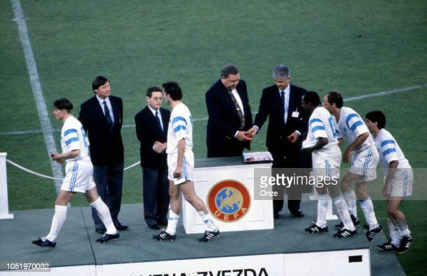 Dejan Stojkovic, Philippe Vercruysse of Marseille, Johansson, UEFA President, Abedi Pele, Bruno Germain and Manuel Amoros of Marseille during the...