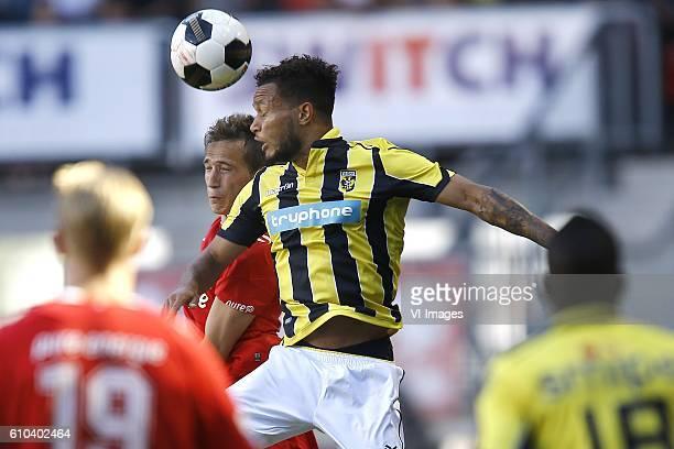 Dejan Trajkovski of FC Twente Lewis Baker of Vitesse Arnhem during the Dutch Eredivisie match between FC Twente and Vitesse Arnhem at the Grolsch...