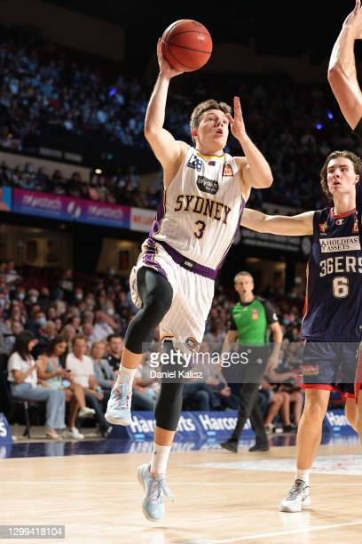 Dejan Vasiljevic of the Sydney Kings drives to the basket during the round three NBL match between the Adelaide 36ers and the Sydney Kings at...
