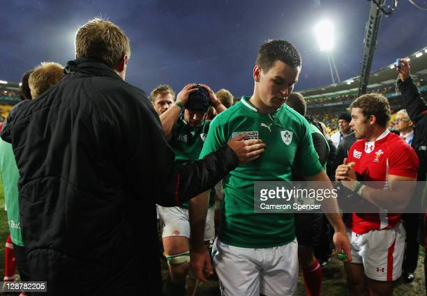 Dejeceted flyhalf Jonathan Sexton of Ireland walks off the pitch following his team's 2210 defeat during quarter final one of the 2011 IRB Rugby...