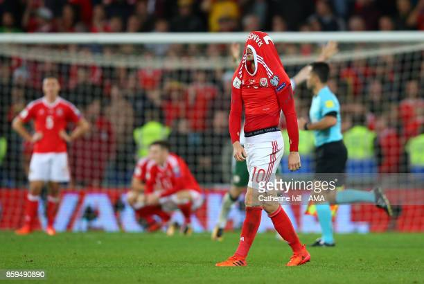 A dejected Aaron Ramsey of Wales after the FIFA 2018 World Cup Qualifier between Wales and Republic of Ireland at Cardiff City Stadium on October 9...