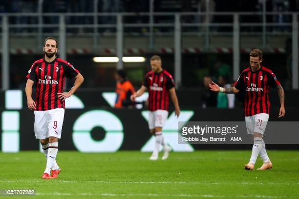 Dejected AC Milan players after conceding a goal to make it 10 during the Serie A match between FC Internazionale and AC Milan at Stadio Giuseppe...