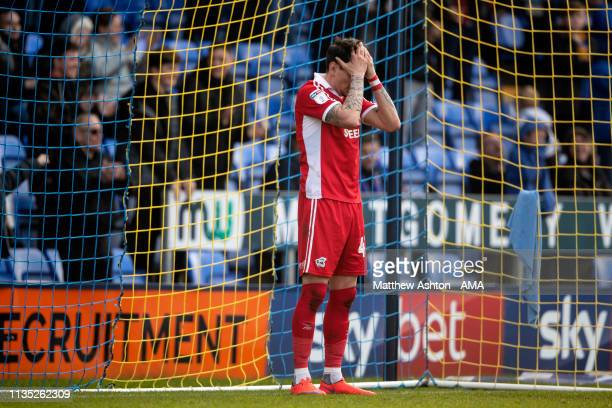 A dejected Adam Hammill of Scunthorpe United after scoring an own goal to make it 11 during the Sky Bet League One match between Shrewsbury Town and...