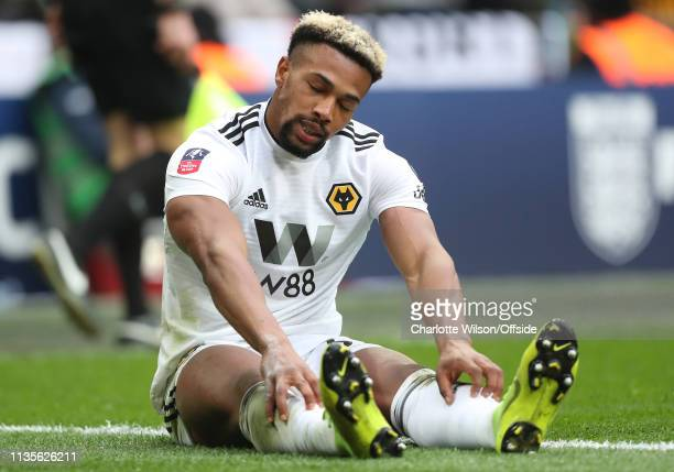 A dejected Adama Traore of Wolves during the FA Cup Semi Final match between Watford and Wolverhampton Wanderers at Wembley Stadium on April 7 2019...