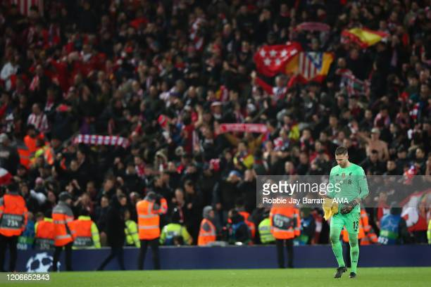 A dejected Adrian of Liverpool after defeat in the UEFA Champions League round of 16 second leg match between Liverpool FC and Atletico Madrid at...