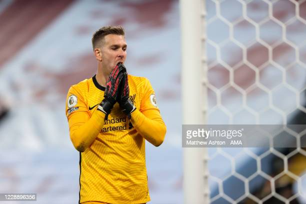 Dejected Adrian of Liverpool reacts during the Premier League match between Aston Villa and Liverpool at Villa Park on October 4, 2020 in Birmingham,...