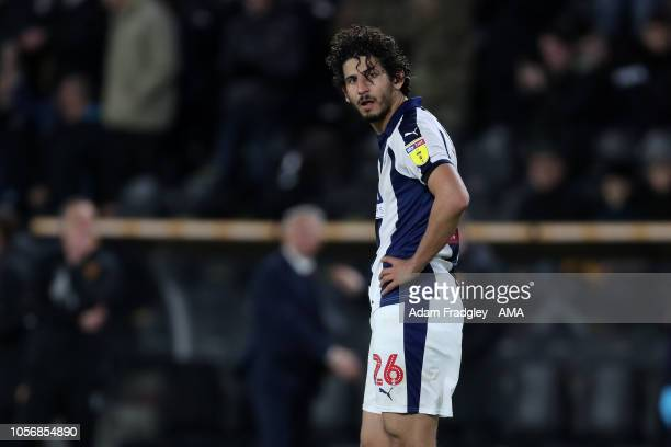 A dejected Ahmed Hegazi of West Bromwich Albion reacts during the Sky Bet Championship match between Hull City and West Bromwich Albion at KCOM...