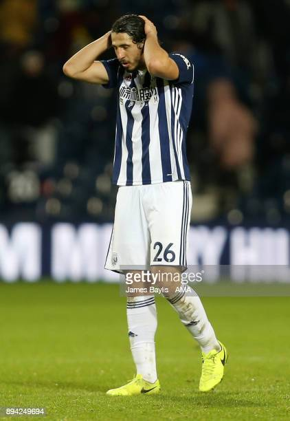 A dejected Ahmed Hegazy of West Bromwich Albion at full time during the Premier League match between West Bromwich Albion and Manchester United at...