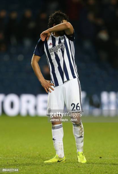 A dejected Ahmed Hegazy of West Bromwich Albion during the Premier League match between West Bromwich Albion and Manchester United at The Hawthorns...