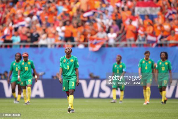 A dejected Ajara Nchout of Cameroon during the 2019 FIFA Women's World Cup France group E match between Netherlands and Cameroon at Stade du Hainaut...