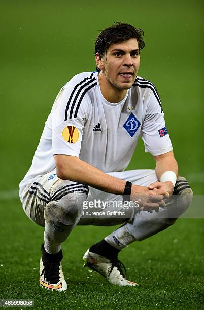 A dejected Aleksandr Dragovic of Dynamo Kyiv looks on following his team's 21 defeat during the UEFA Europa League Round of 16 first leg match...