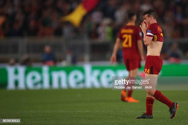 A dejected Alessandro Florenzi of AS Roma at full time during the UEFA Champions League Semi Final Second Leg match between AS Roma and Liverpool at...
