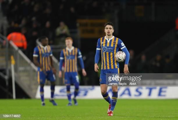 A dejected Alex Gilliead of Shrewsbury Town reacts after Ivan Cavaleiro of Wolverhampton Wanderers scores a goal to make it 32 during the FA Cup...