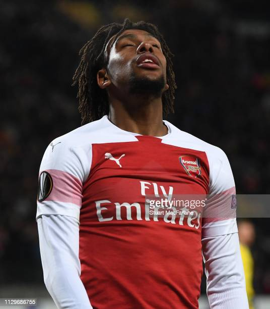 Dejected Alex Iwobi of Arsenal during the UEFA Europa League Round of 32 First Leg match between BATE Borisov and Arsenal at on February 14 2019 in...