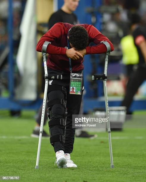 A dejected Alex OxladeChamberlain of Liverpool at the end of the UEFA Champions League final between Real Madrid and Liverpool on May 26 2018 in Kiev...