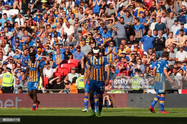 A dejected Alex Rodman of Shrewsbury Town after conceding the second goal during the Sky Bet League One Play Off Final between Rotherham United and...