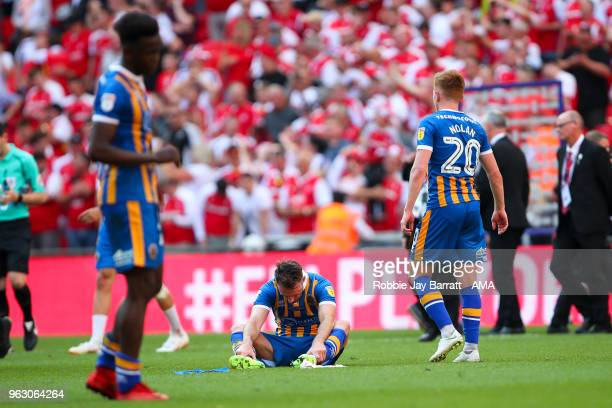 A dejected Alex Rodman of Shrewsbury Town at full time during the Sky Bet League One Play Off Final between Rotherham United and Shrewsbury Town at...