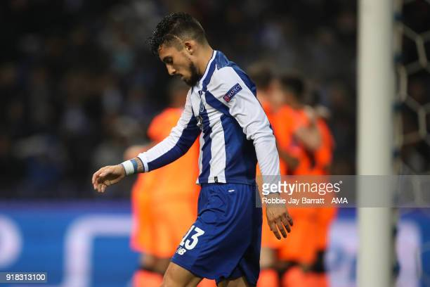 A dejected Alex Telles of FC Porto during the UEFA Champions League Round of 16 First Leg match between FC Porto and Liverpool at Estadio do Dragao...