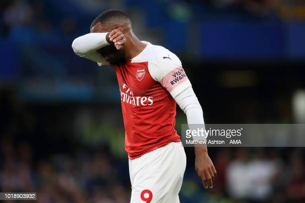 A dejected Alexandre Lacazette of Arsenal during the Premier League match between Chelsea FC and Arsenal FC at Stamford Bridge on August 18 2018 in...